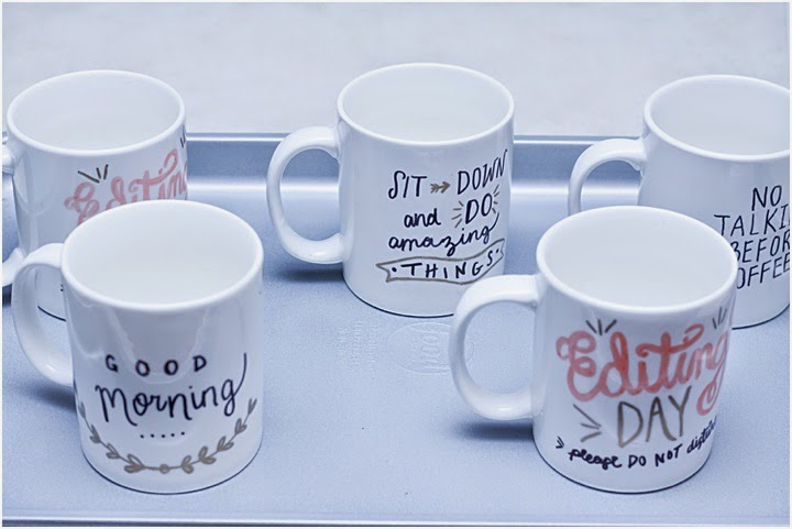 Set of customized coffee mugs