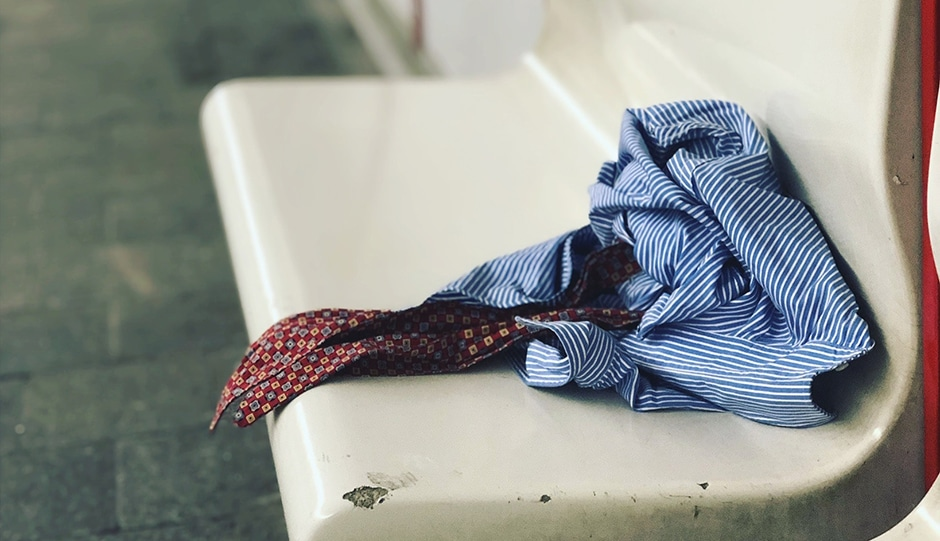 Shirt and tie sitting on a bench