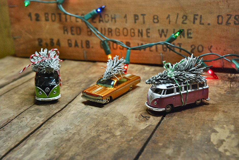 Vintage car with tree ornaments