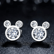 Gift Boxed, Sterling Silver Mickey Mouse Rhinestone Earrings from $8.49!...