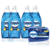Amazon: 4-Pack Dawn Ultra Dishwashing Liquid Soap + 2-Pack Non-Scratch...