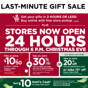Kohl's is Open 24-Hours for Last Minute Shopping! 2-Hour In-store Pick-up...