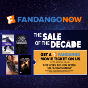 FandangoNow: Earn FREE Movie Ticket with Every $25 Purchase!