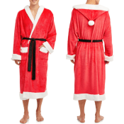 Walmart Cyber Week! 🎅 Men's Hooded Plush Santa Robe with Pom Pom Topper...
