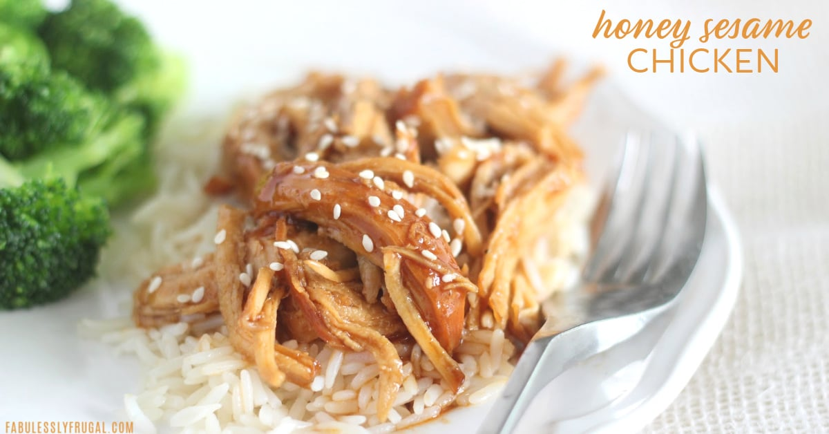 Shredded honey sesame chicken on rice