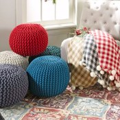 Jane: Handmade Gumdrop Knitted Pouf $35.99 (Reg $174.99) 12 Colors + Free...