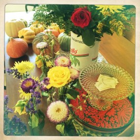 Flowers, Squash on table