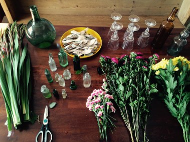 Flowers mise en place