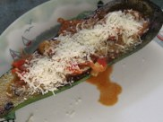 Sausage stuffed zucchini (4)