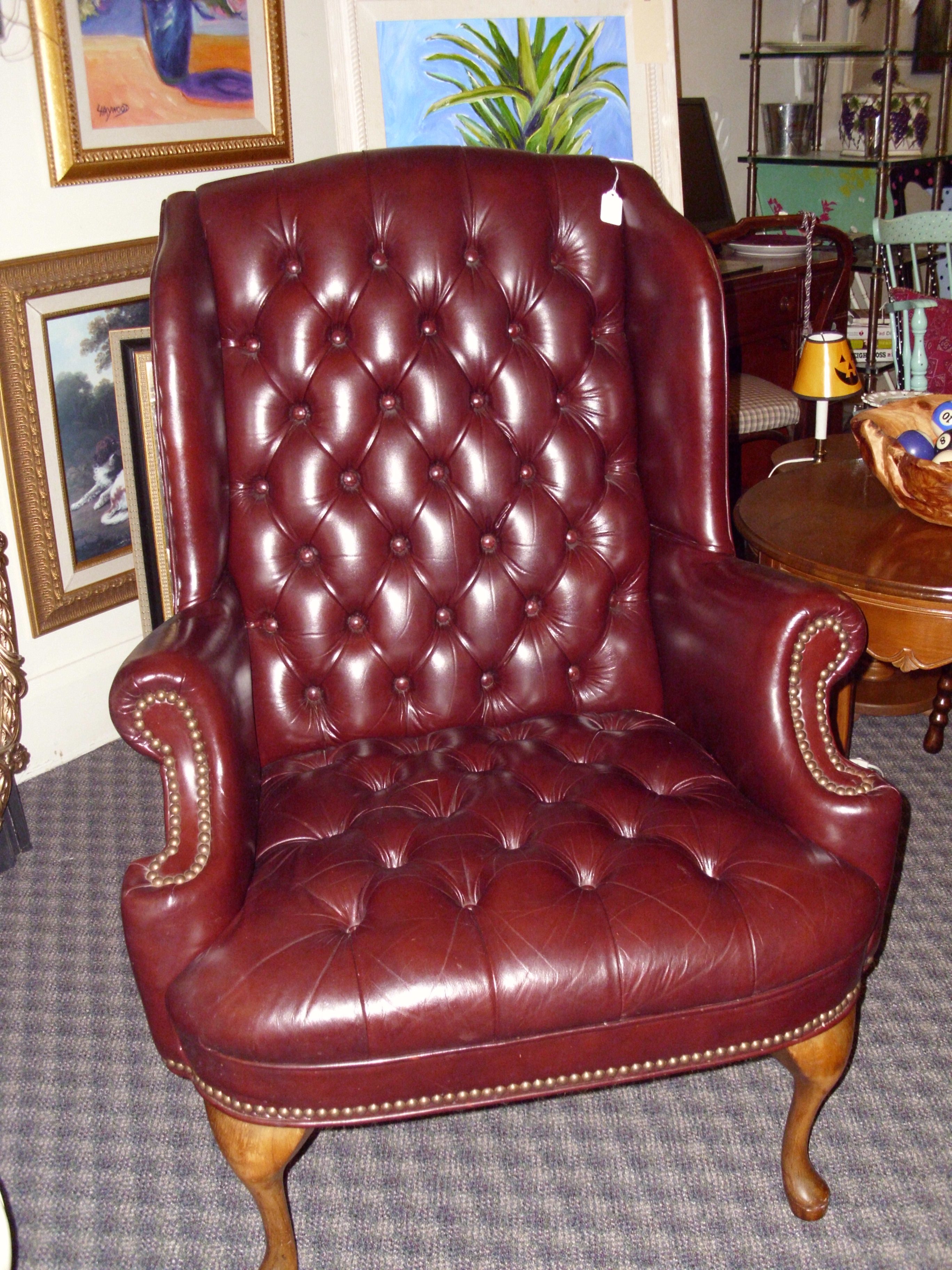 tufted leather wingback chair chevalier chairs for sale special arrival  only 285
