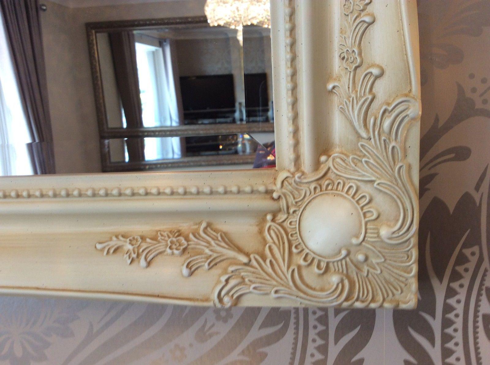 Large Cream Ivory Swept Shabby Chic Mirror