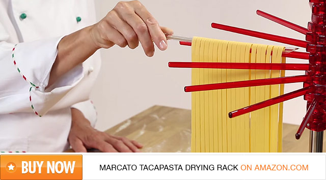 Red Marcato Tacapasta Drying Rack with fresh fettuccine