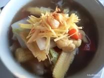 Having vegetable noodles soup when I was sick