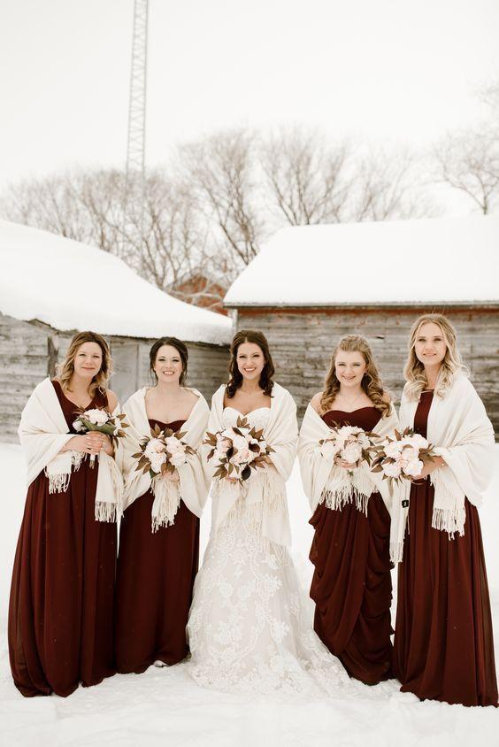 red bridesmaid dresses, winter bridesmaid dresses #winterwedding #winterbridesmaiddresses