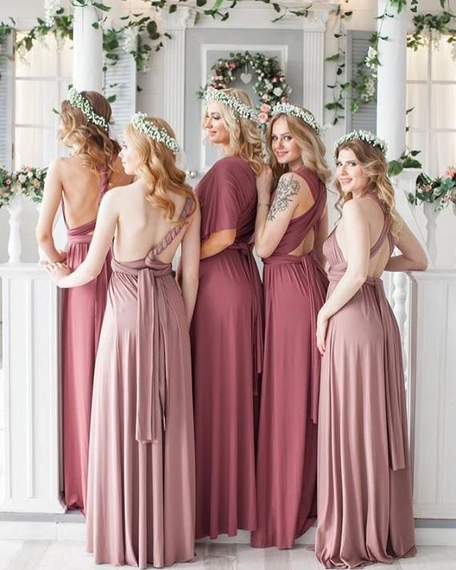Spring wedding colors, bridesmaid dresses in shades of pink