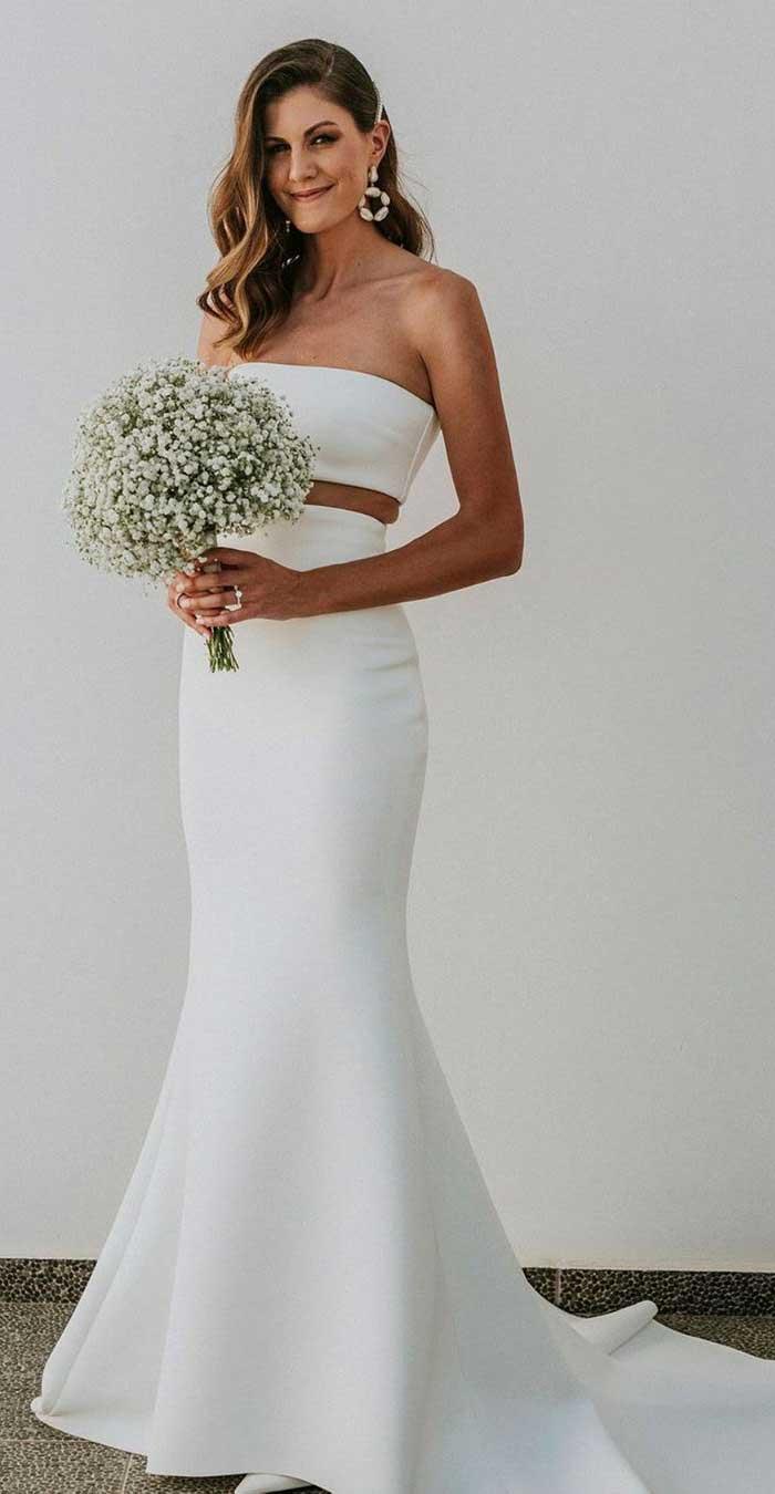 32 Beach Wedding Dresses Perfect For A Destination Wedding, simple wedding dress , two piece wedding gown #weddingdress #weddinggown