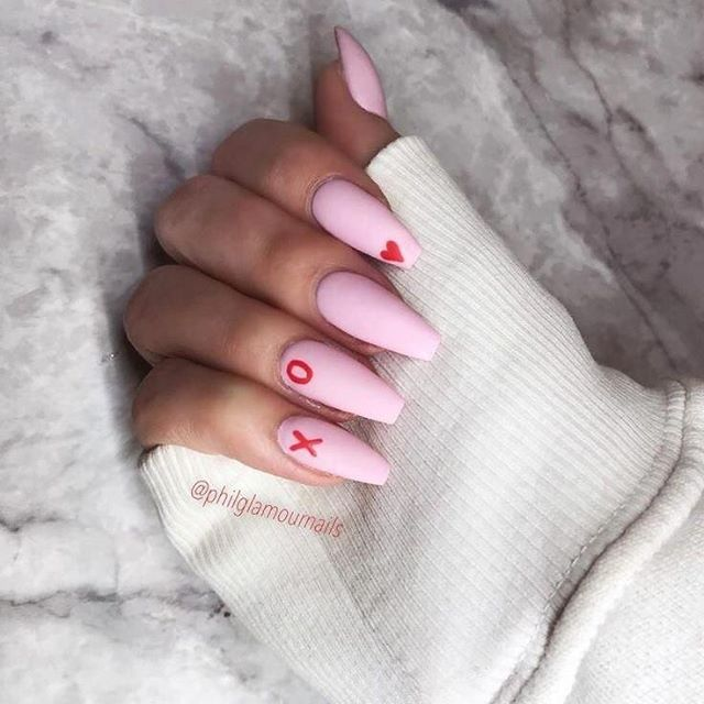 best nail art ideas for Valentine's day 2020 - 33, valentine nails 2020, valentines day nails 2020, valentine's day acrylic nails, valentine gel nails, valentines day nails 2020, nail designs, heart nail art , pink nail art, pink nail colors, simple heart nail designs, easy heart nail art, heart nail designs for short nails, heart tip nails, heart toe nail designs, pink nails with red hearts