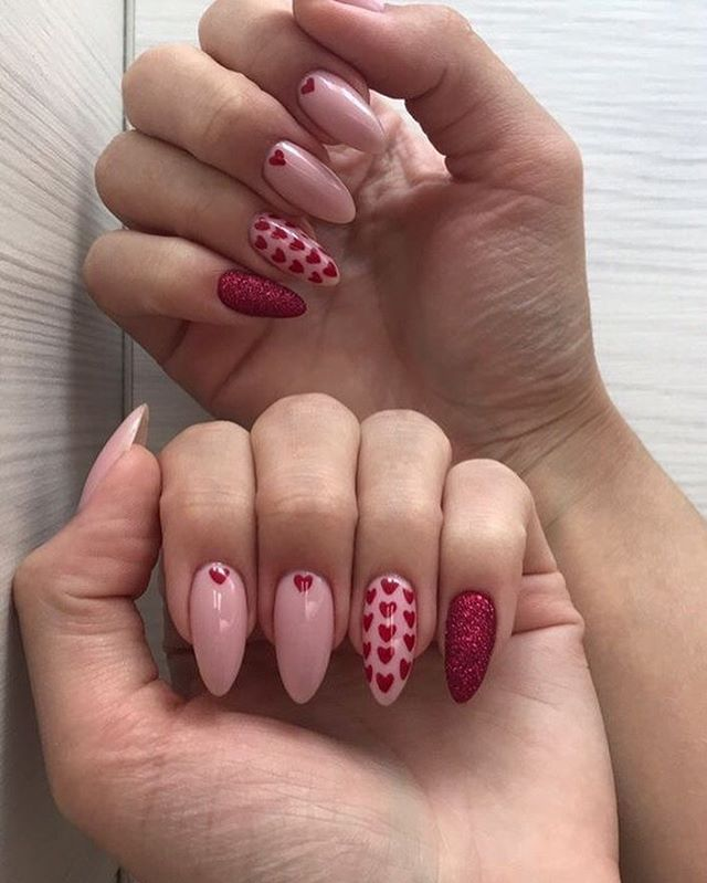 best nail art ideas for Valentine's day 2020 - 39, valentine nails 2020, valentines day nails 2020, valentine's day acrylic nails, valentine gel nails, valentines day nails 2020, nail designs, heart nail art , pink nail art, pink nail colors, simple heart nail designs, easy heart nail art, heart nail designs for short nails, heart tip nails, heart toe nail designs, pink nails with red hearts