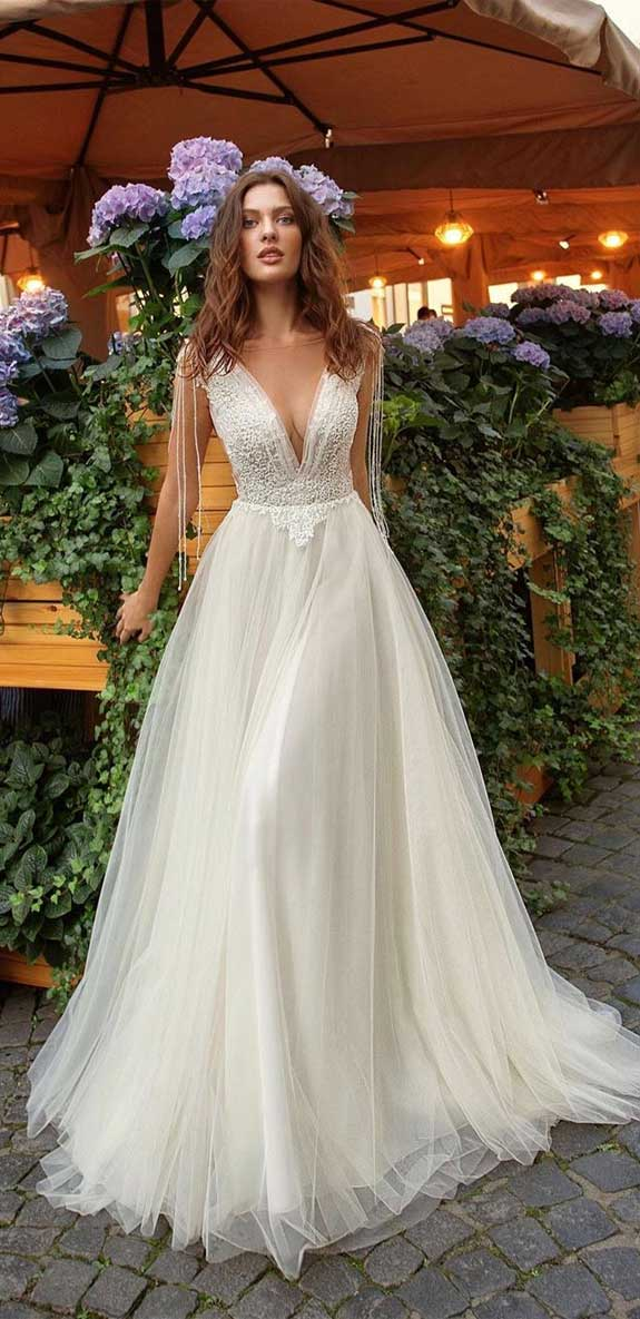 100 the most incredible wedding dresses , sleeveless a line wedding dress, lace wedding dress, lace wedding gown, spaghetti strap a line wedding dress #weddingdresses #weddinggown #weddingdress #bridaldress