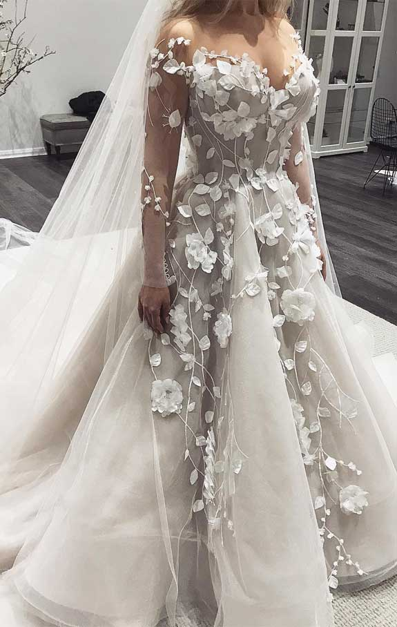 100 the most incredible wedding dresses, long sleeve wedding dress, 3d floral applique ball gown wedding dress, wedding dresses, ball gown wedding dress with sleeves