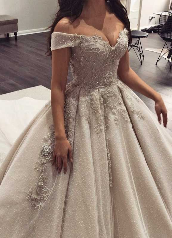 100 the most incredible wedding dresses, off the shoulder ball gown, off the shoulder ball gown wedding dress, off the shoulder heavy embellishment wedding dress