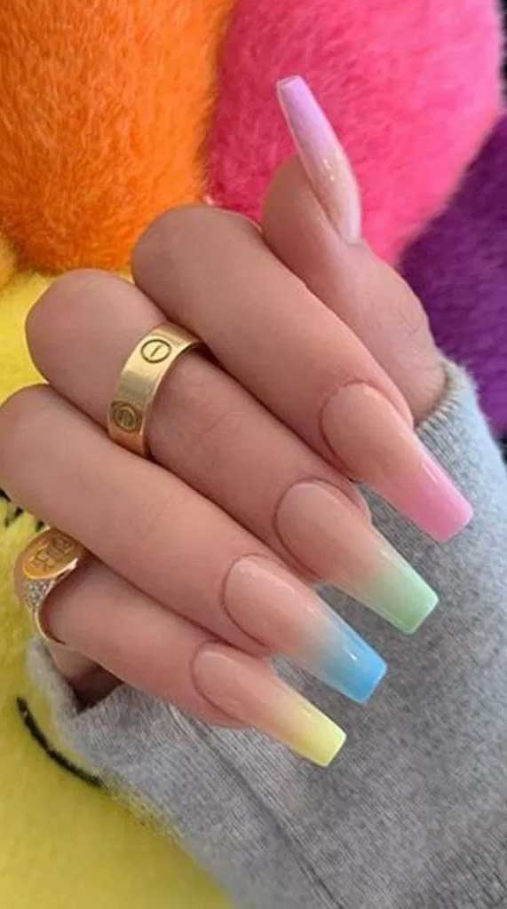 mismatched nail colors #springnails #shortnails2020 colorful nails, spring nails, summer nails, best summer nails 2020, cute summer nails 2019, summer nails 2020, summer nails acrylic, bright summer nails, summer nails coffin, summer nails 2020,short summer nails, summer nail ideas #summernails pastel nails