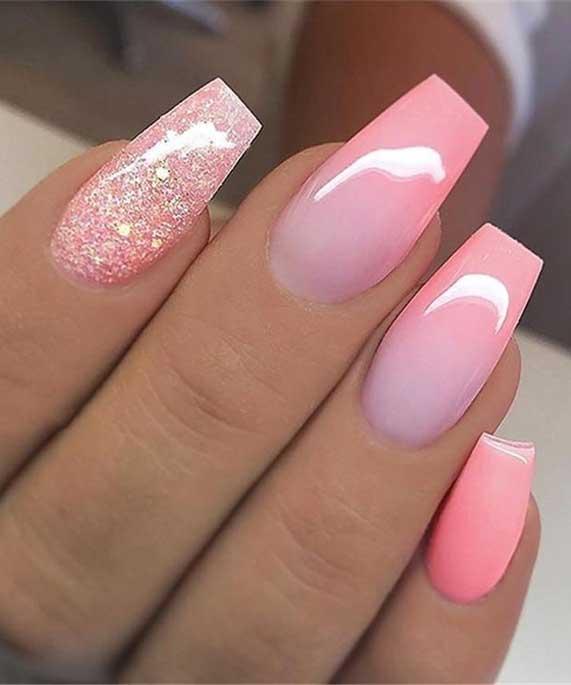 ombre pastel nail colors #springnails #shortnails2020 colorful nails, spring nails, summer nails, best summer nails 2020, cute summer nails 2019, summer nails 2020, summer nails acrylic, bright summer nails, summer nails coffin, summer nails 2020,short summer nails, summer nail ideas #summernails pastel nails
