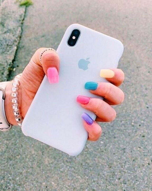 mismatched nail colors #springnails #shortnails2020 colorful nails, spring nails, summer nails, best summer nails 2020, cute summer nails 2019, summer nails 2020, summer nails acrylic, bright summer nails, summer nails coffin, summer nails 2020,short summer nails, summer nail ideas #summernails