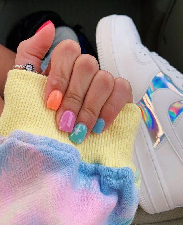 mismatched nail colors #springnails #shortnails2020 colorful nails, spring nails, summer nails, best summer nails 2020, cute summer nails 2019, summer nails 2020, summer nails acrylic, bright summer nails, summer nails coffin, summer nails 2020,short summer nails, summer nail ideas #summernails