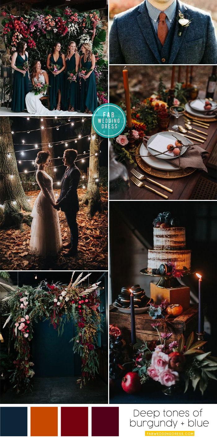 Autumn wedding color palette in dark blue & autumn colors #burgundy #darkblue wedding ceremony, romantic wedding ceremony decor , fall color combos, wedding color ideas , autumn wedding color, burgundy and dark blue wedding color #weddingcolor