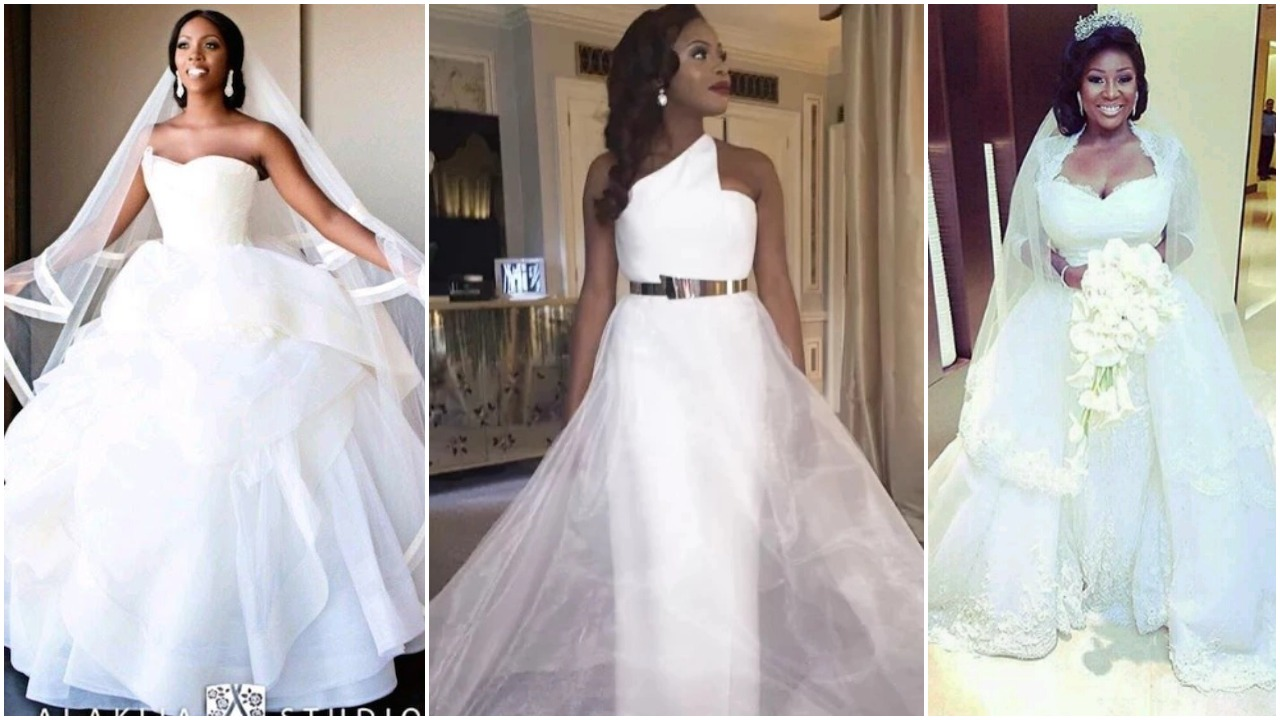 Nigerian Celebrities Unique Wedding Dresses