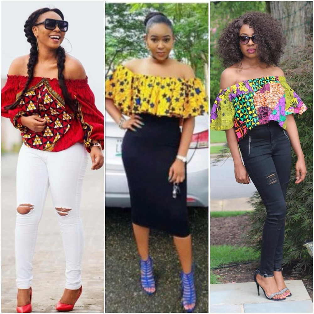 Latest Off Shoulder Ankara Tops
