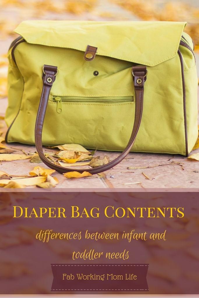 Diaper Bag Contents Infant vs Toddler