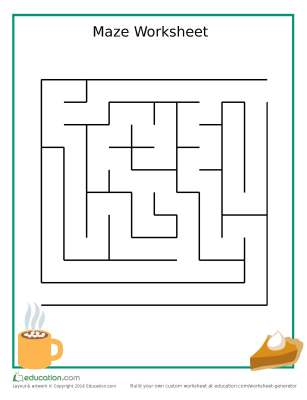 Thanksgiving-themed Pumpkin pie maze worksheet for Preschoolers