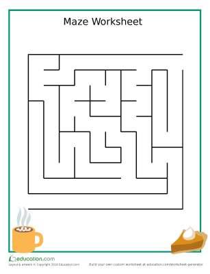Thanksgiving-themed Pumpkin pie maze worksheet for Preschoolers