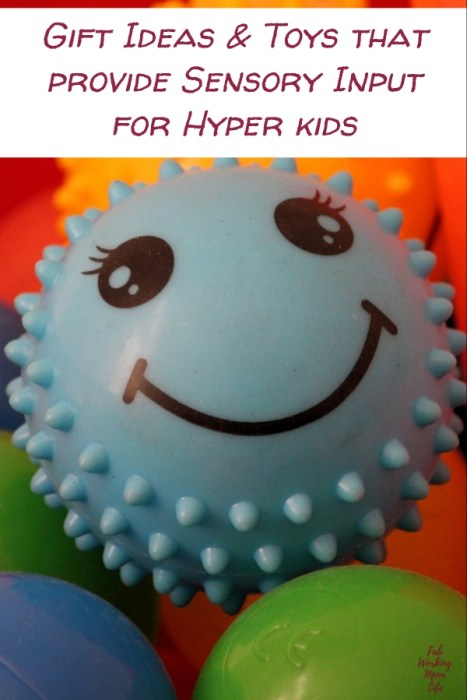 Searching for toys for sensory seekers? Check out this gift guide for sensory toys for toddlers! | Toys that provide Sensory Input for Hyper kids | Fab Working Mom Life #sensory #giftideas #giftguide #adhd #vestibular #proproceptive