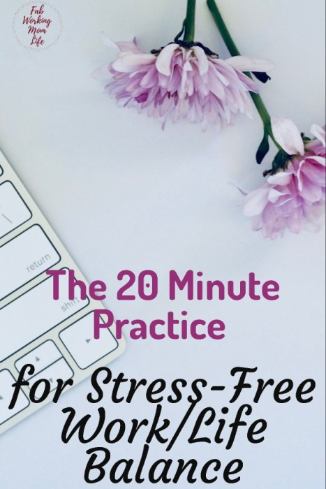 the 20 minute daily practice for Stress-Free Work/Life Balance | Fab Working Mom Life