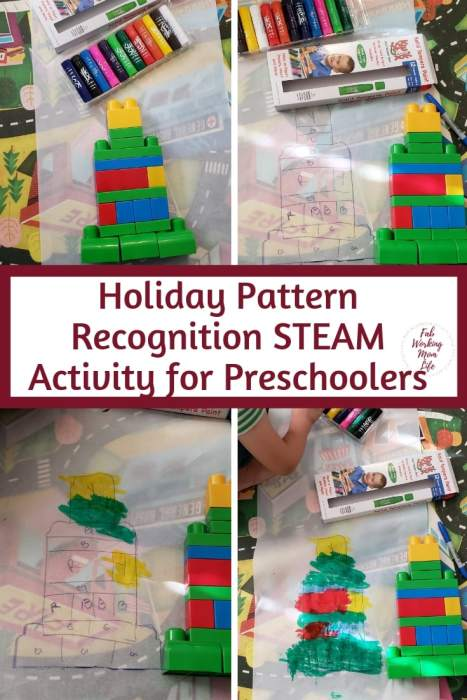 Holiday Pattern Recognition STEAM Activity for Preschoolers | Fab Working Mom Life #steam #stem #preschool #kidsactivities