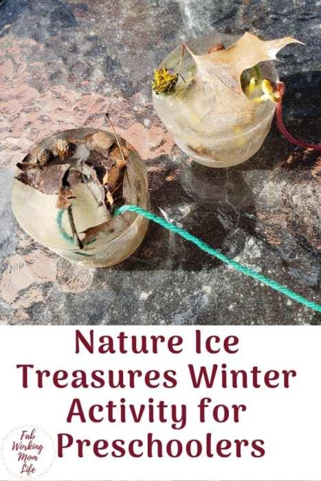 Nature Ice Treasures Winter Activity for Preschoolers   Fab Working Mom Life #kidsactivities #winter #naturetreasures #preschoolers #kidscrafts