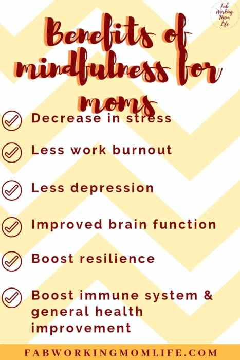 Benefits of mindfulness for moms infographic