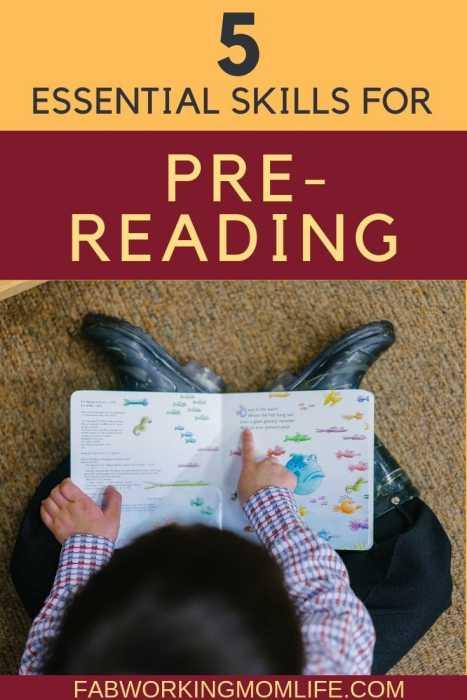 pre-reading skills for kindergarten