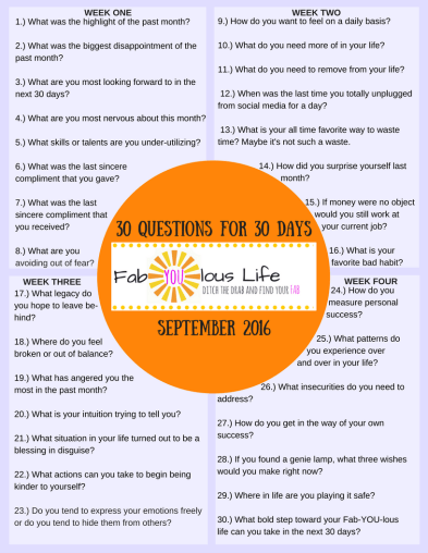 30 Questions 30 Days September
