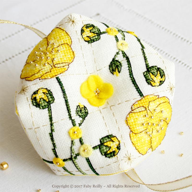 Buttercup Biscornu - Faby Reilly Designs