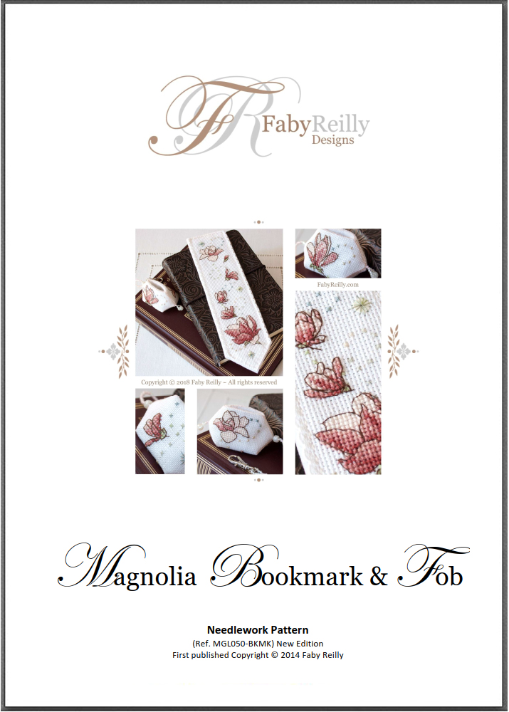 Magnolia Bookmark Front Cover - Faby Reilly Designs