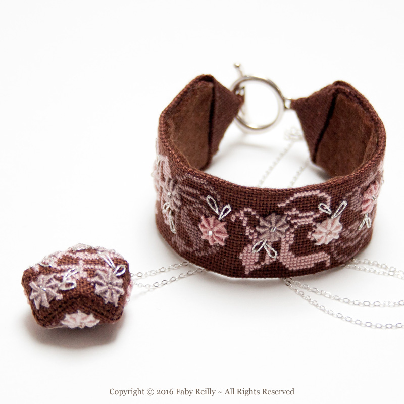Rose Chocolat Stitched Jewellery
