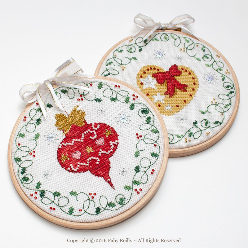 Bauble and Heart Hoops - Faby Reilly Designs
