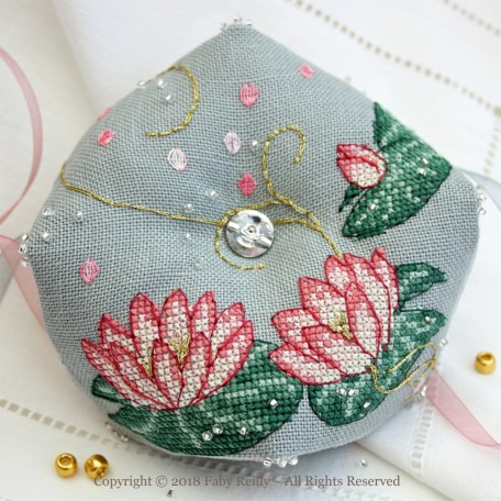 Pink Lotus Biscornu – Faby Reilly Designs