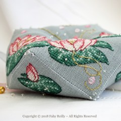 Pink Lotus Biscornu - Faby Reilly Designs