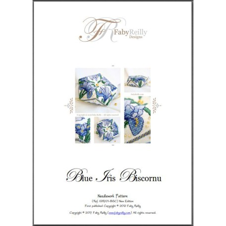 Blue Iris Biscornu – Faby Reilly Designs