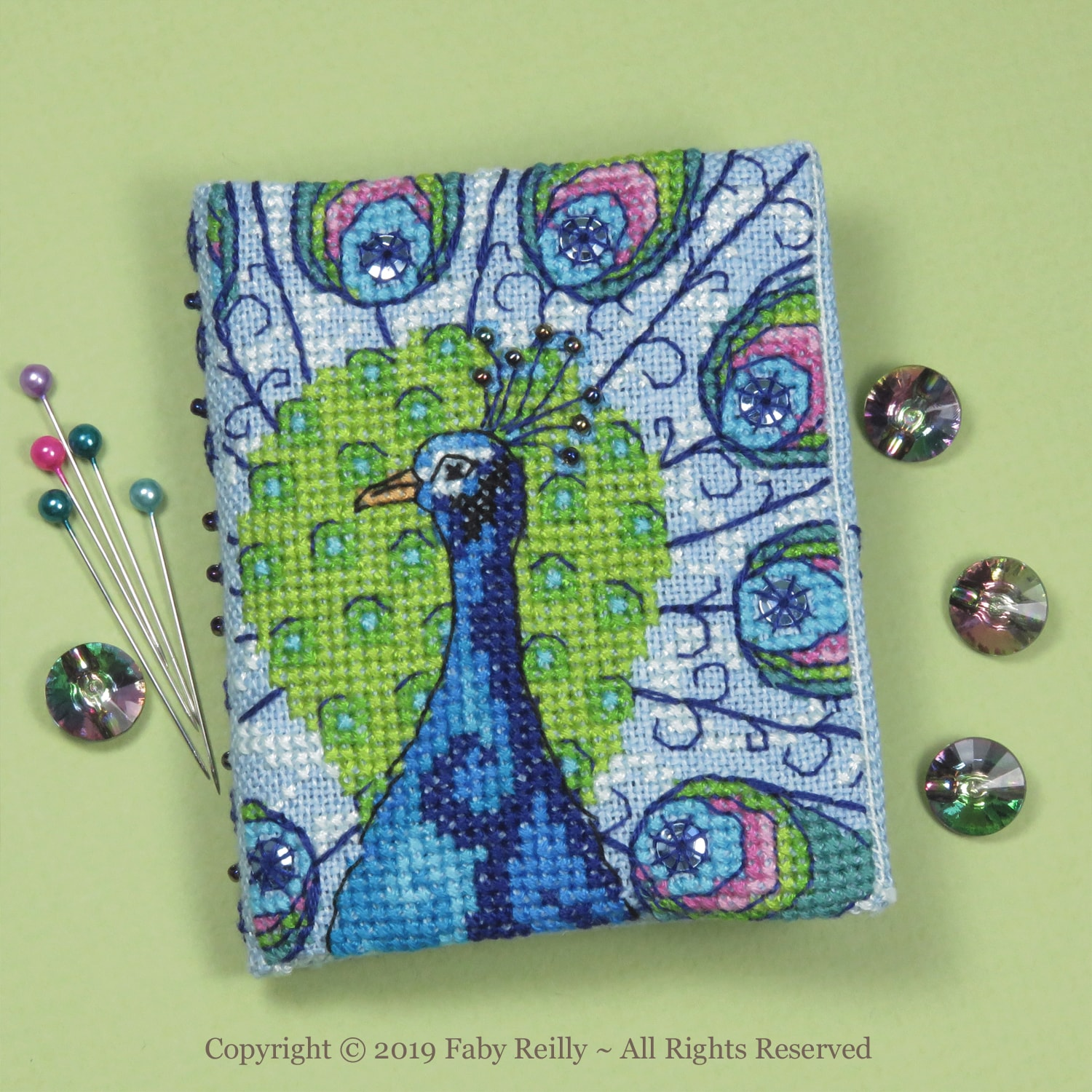 Peacock Needlebook – Faby Reilly Designs